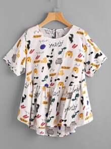Cartoon Print Keyhole Back Dip Hem Smock Blouse
