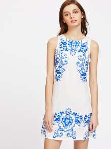 Porcelain Print Zipper Back Sleeveless Dress