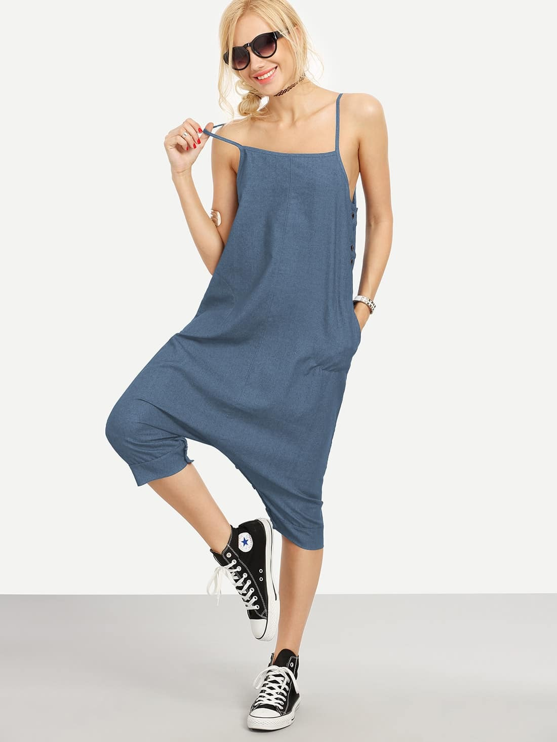 Image of Buttoned Drop Crotch Denim Overall Pants