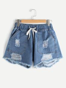 Shorts deshilachados cintura con cordón con rotura
