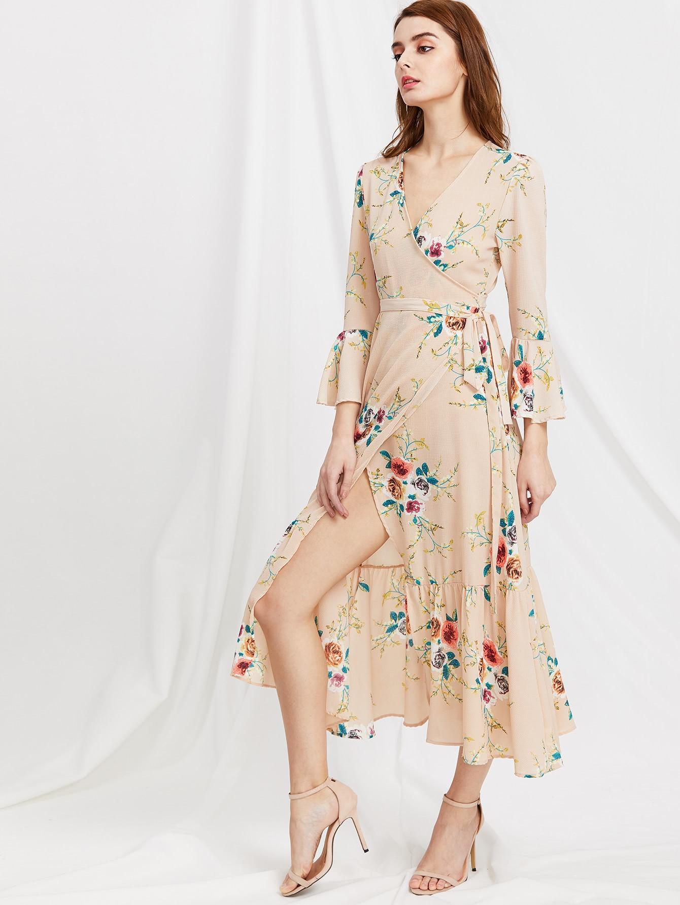 Фото Plunge Neck Floral Print Bell Sleeve Slit Side Dress. Купить с доставкой