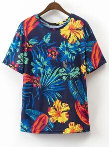 Impresión de las hojas suelta t-shirt