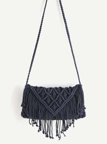 Crochet Hollow Out Tassel Bag