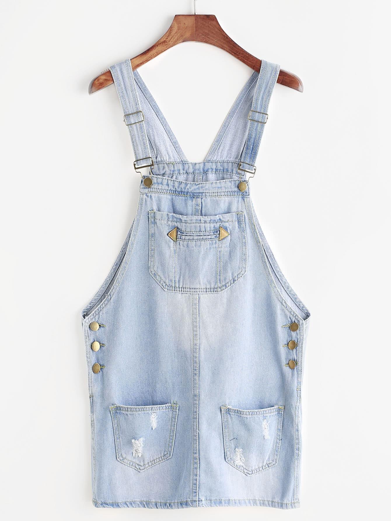 Купить со скидкой Ripped Bleach Wash Denim Overall Dress