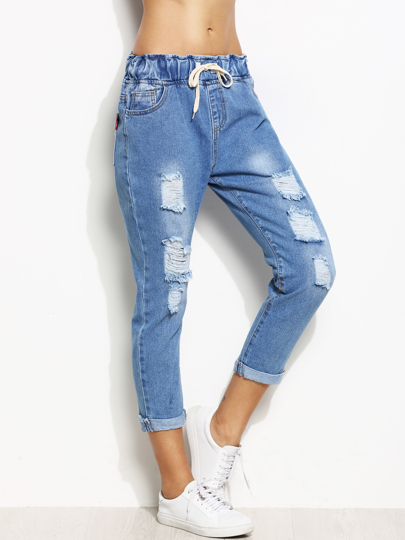 Distressed Rolled Hem Drawstring Jeans thumbnail