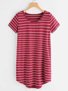 Striped Dip Hem Curved Hem Tee Dress