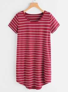 Striped Dip Hem Curved Hem Tee Dress