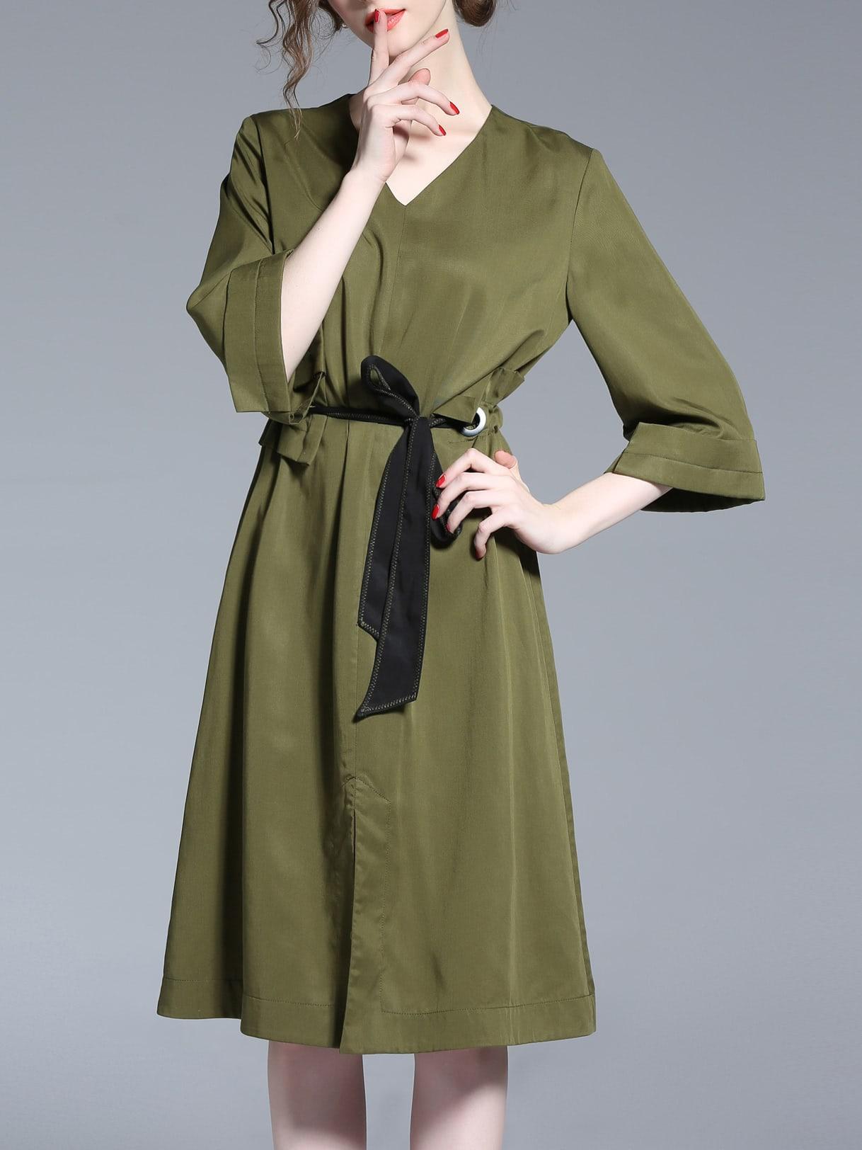 Фото V Neck Drawstring A-Line Dress. Купить с доставкой
