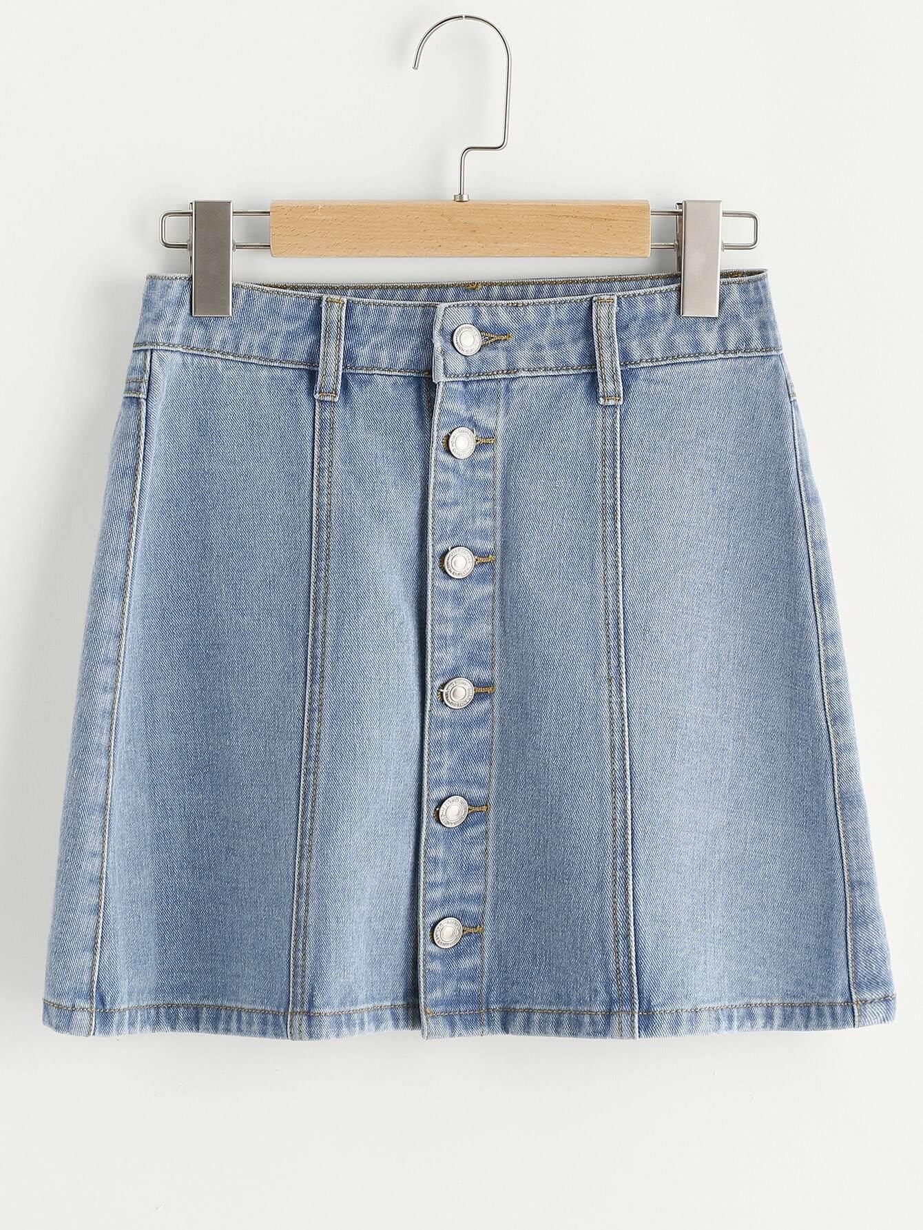 Фото Button Up Paneled Denim Skirt. Купить с доставкой