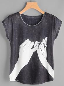 T-shirt stampa a manica con cappuccio