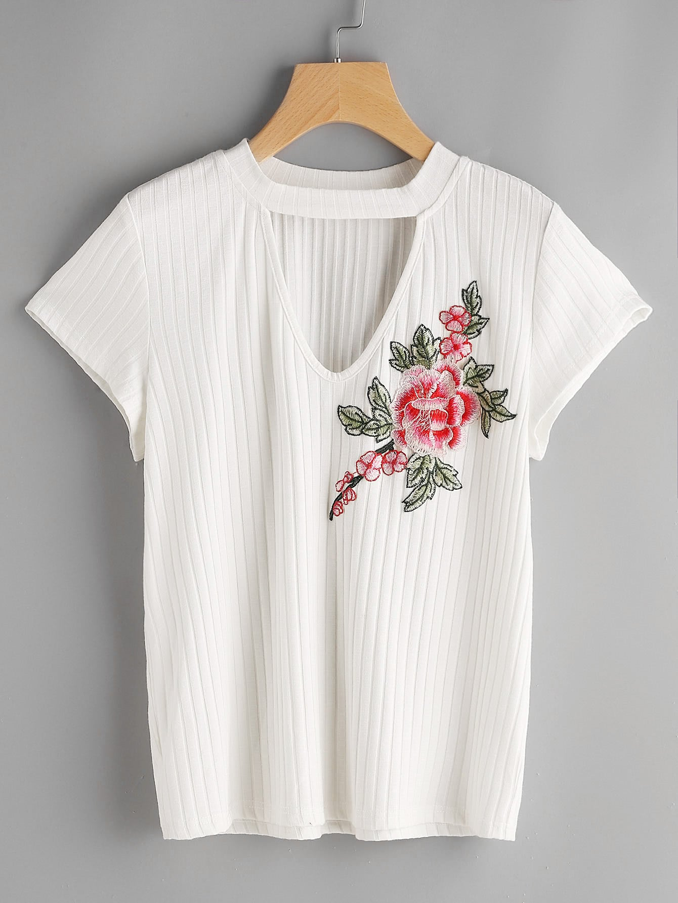 Rib Knit Flower Applique Choker Neck Tee