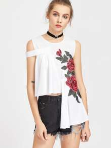 Rose Appliques Zipper Back Asymmetrical Top