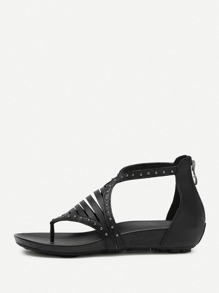 Studded Detail Laser Cut Toe Post Sandals