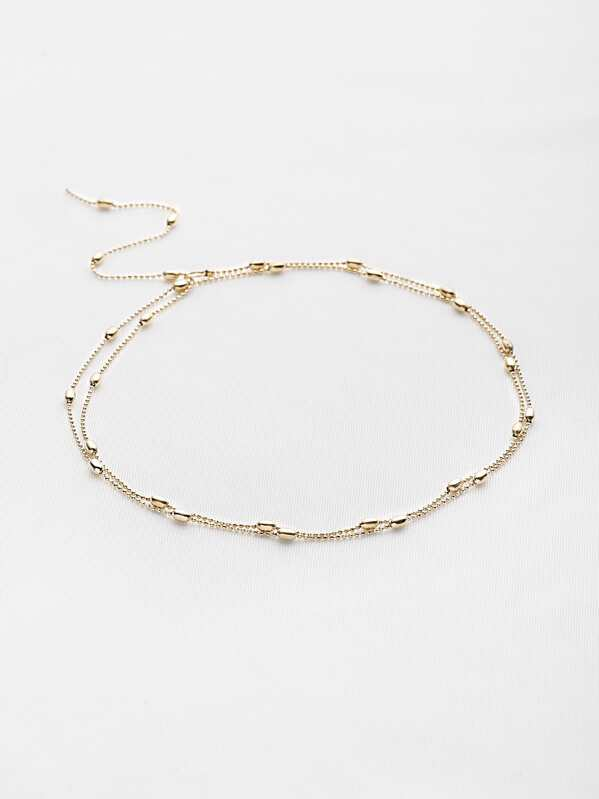 Beaded Design Double Chain Necklace, null