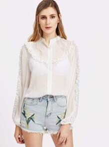 Band Collar Frill Detail Lantern Sleeve Sheer Blouse