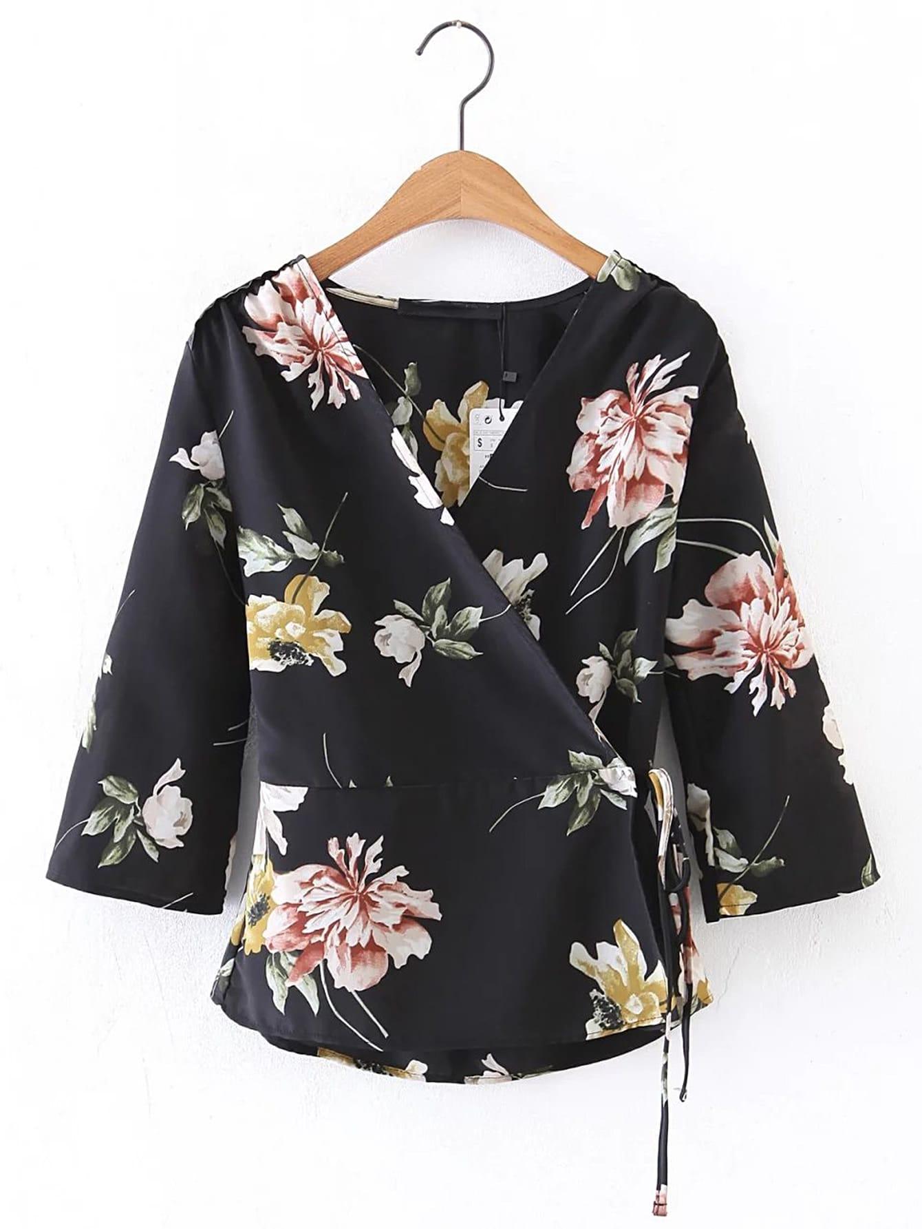 Купить Модный топ с цветочным принтом и V-образным вырезом, null, SheIn