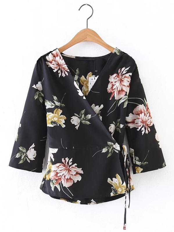 V Neckline Floral Print Tie Waist Wrap Top, null