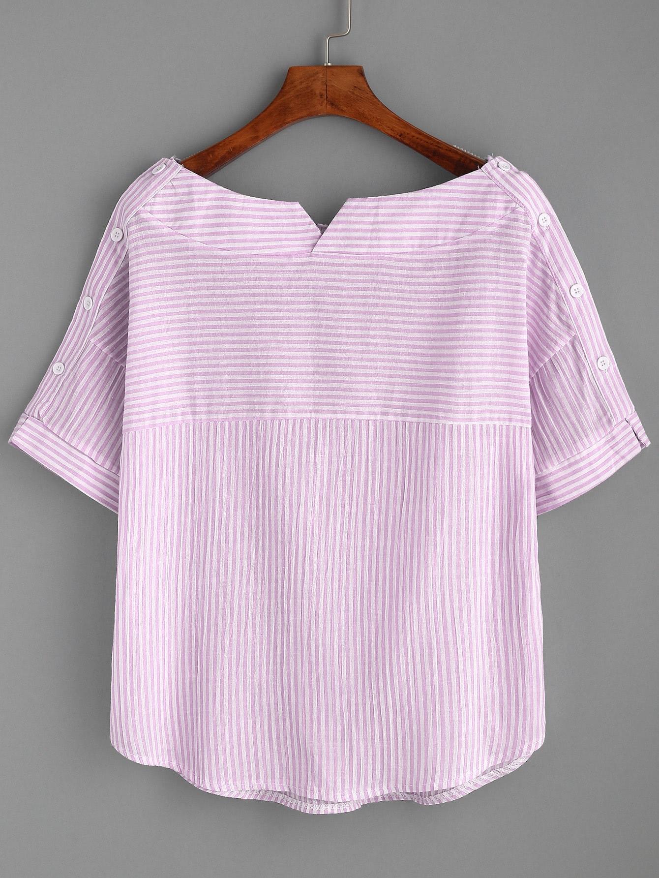 Boat Neckline Pinstripe Button Side Top blouse170413107