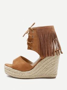 Fringe Design Lace Up Wedge Sandals