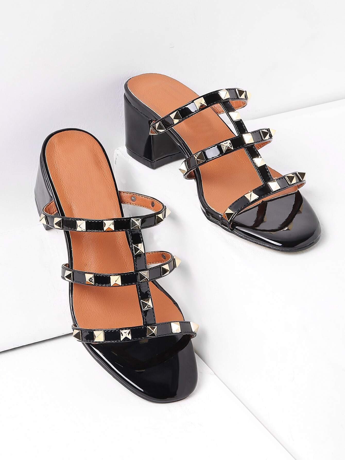 Studded Block Heeled Caged Mules shoes170407807