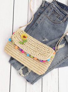 Flower Detail Straw Crossbody Bag With Pom Pom