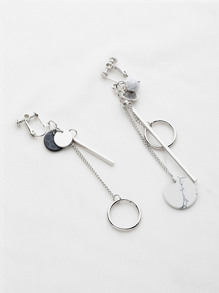 Circle And Bar Drop Asymmetrical Earrings