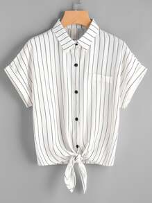 Striped Self Tie Front Cuffed Shirt