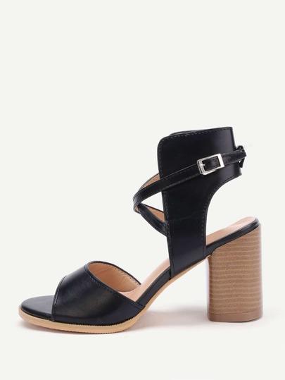 Criss Cross Front Cork Heel PU Sandals
