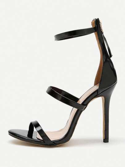 Zipper Detail PU Stiletto Sandals