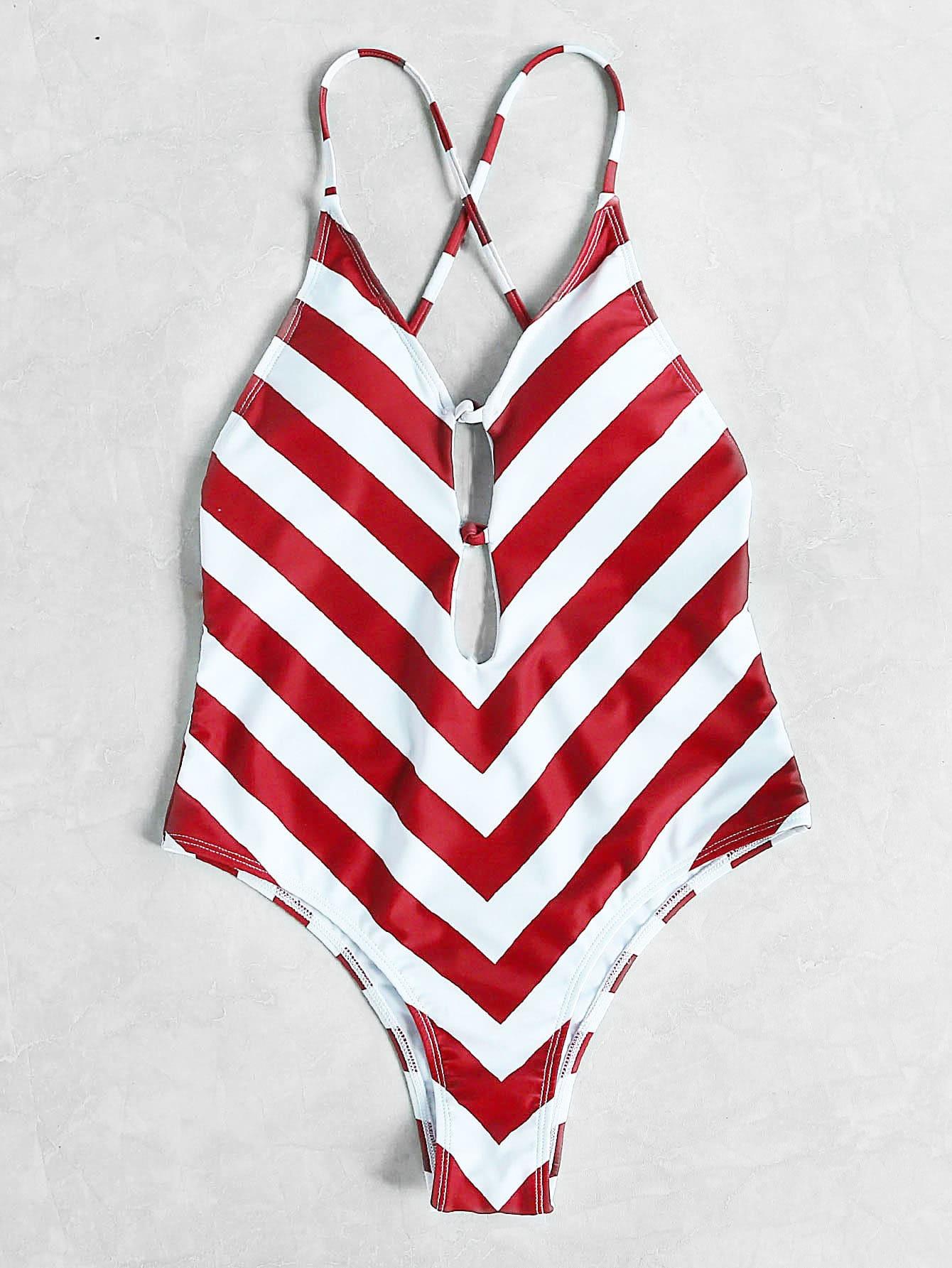 Фото Red White Chevron Print Plunge Neck Crisscross Swimsuit. Купить с доставкой