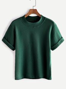 Mock Neck Cuffed T-shirt