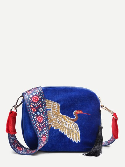 Crane Embroidery Design Crossbody Bag