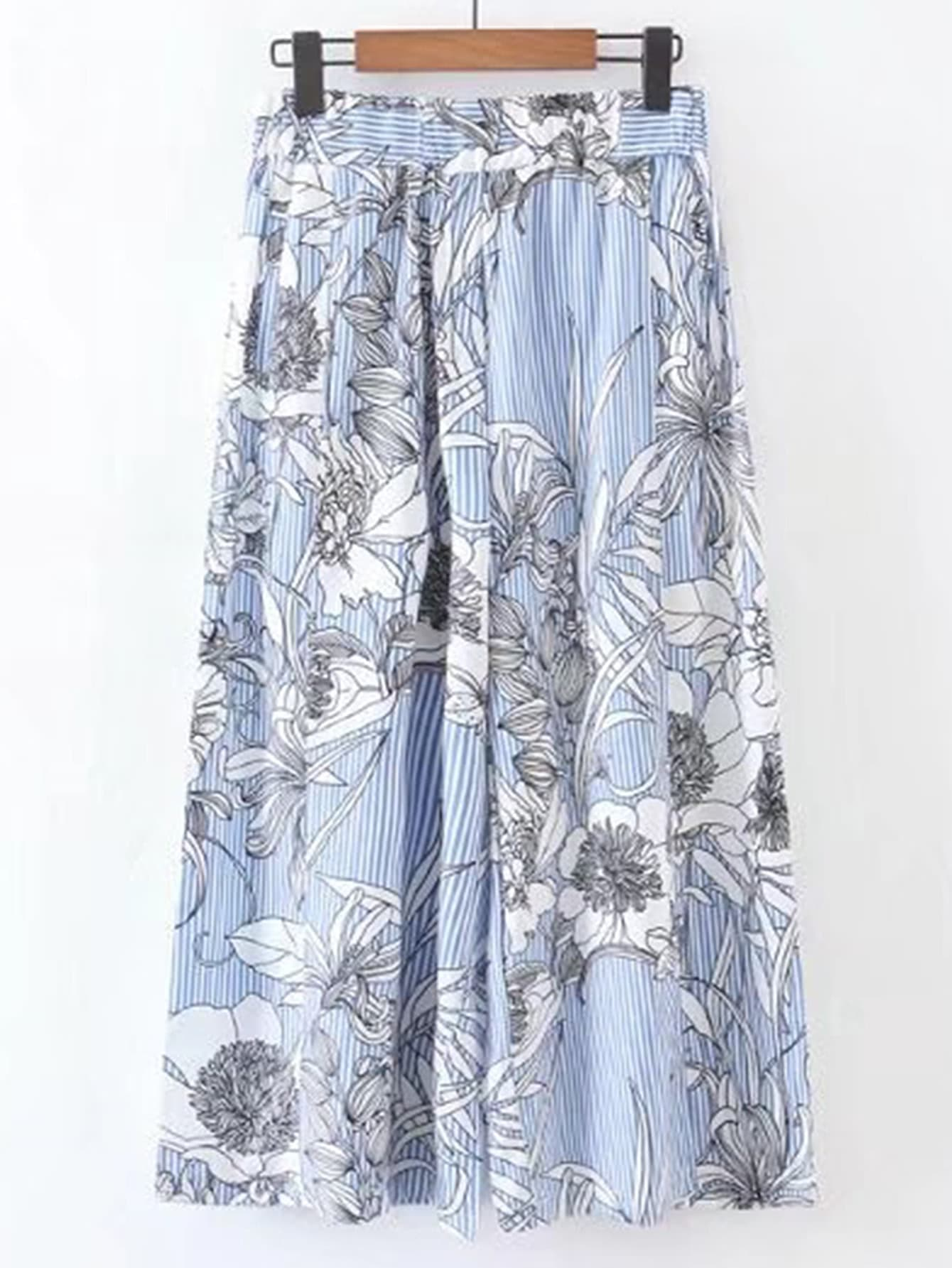 Фото Floral Print Vertical Striped Wide Leg Pants. Купить с доставкой