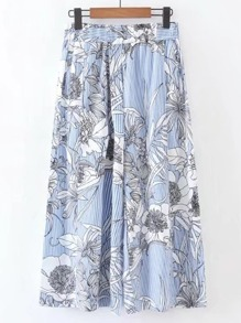 Floral Print Vertical Striped Wide Leg Pants