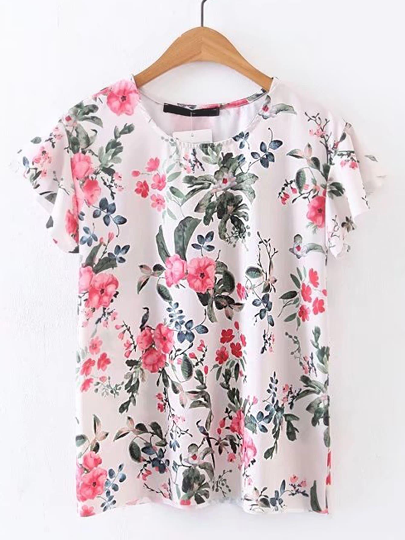 Фото Ruffle Sleeve Floral Top. Купить с доставкой