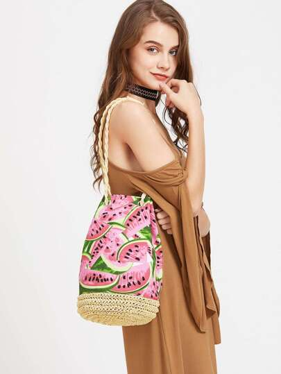 Watermelon Straw Bucket Bag With Strap