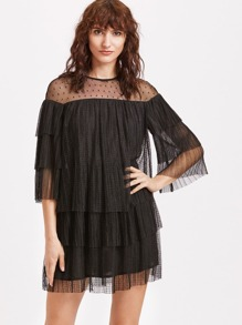 Dobby Mesh Keyhole Back Tiered Dress