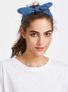 Bow Tie Denim Headband