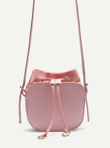 Ring Detail Drawstring PU Shoulder Bag