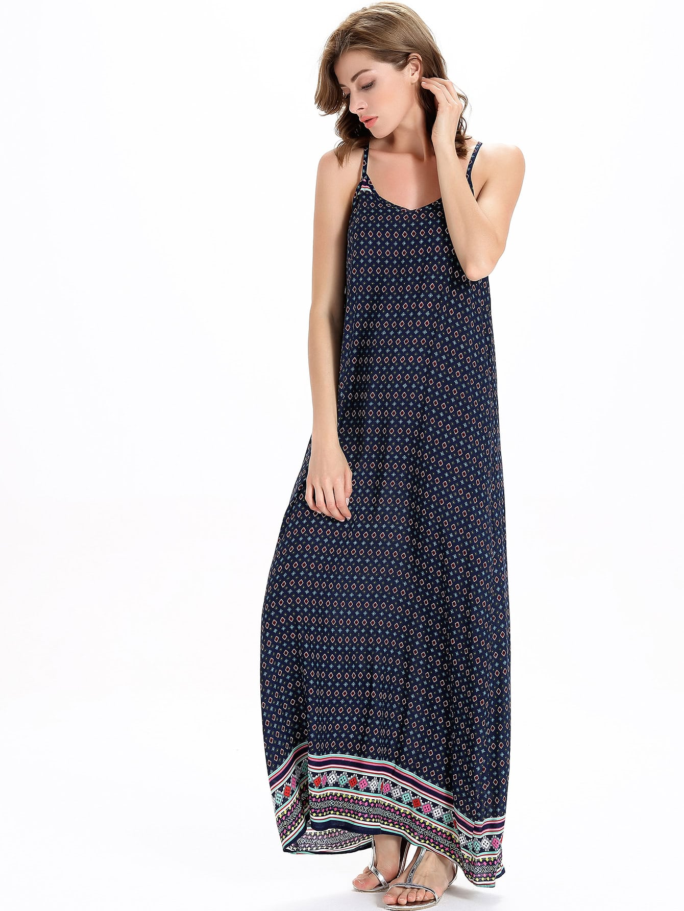 Фото Tribal Print Full Length Slip Dress. Купить с доставкой