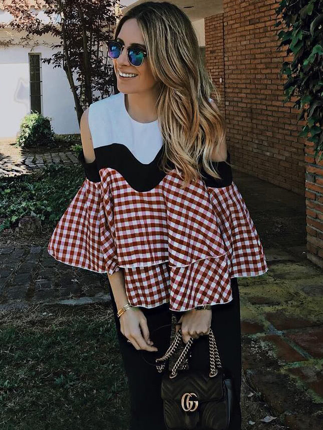 Contrast Gingham Plaid Open Shoulder Ruffle Tiered Top gingham one shoulder top