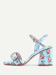 Calico Print Buckle Block Heel Sandals
