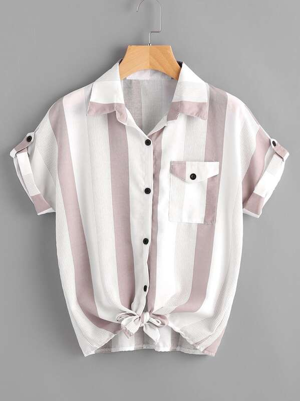 Striped Roll Tab Sleeve Knot Hem Shirt, null
