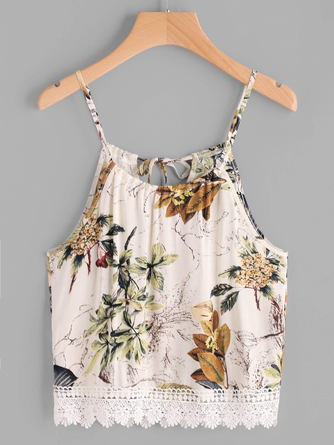 Фото Floral Print Lace Hem Tie Back Cami Top. Купить с доставкой