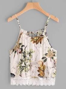 Top de tirante de encaje de espalda con cordón con estampado floral