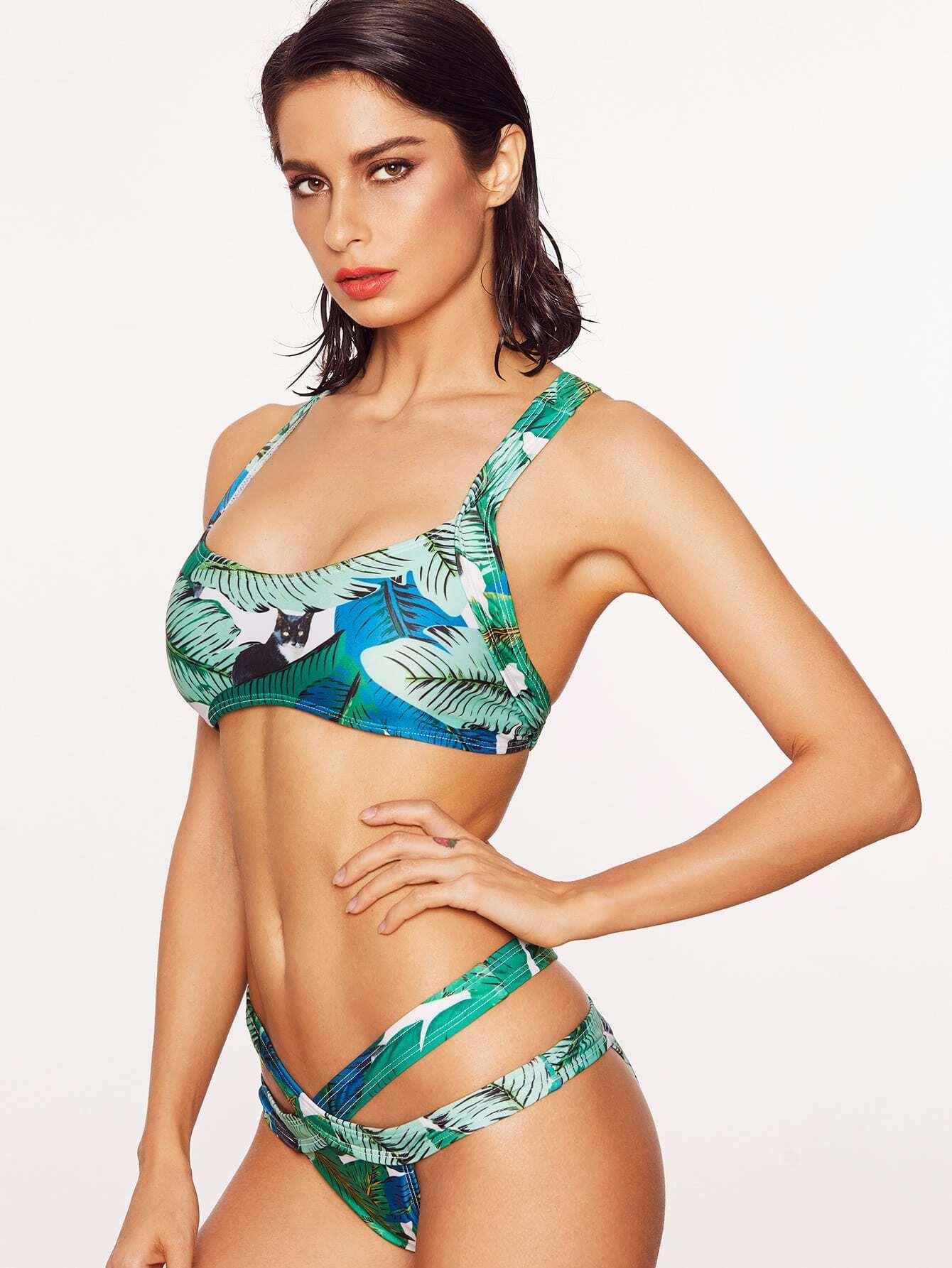 Фото Leaf Print Cutout Design Cross Back Bikini Set. Купить с доставкой