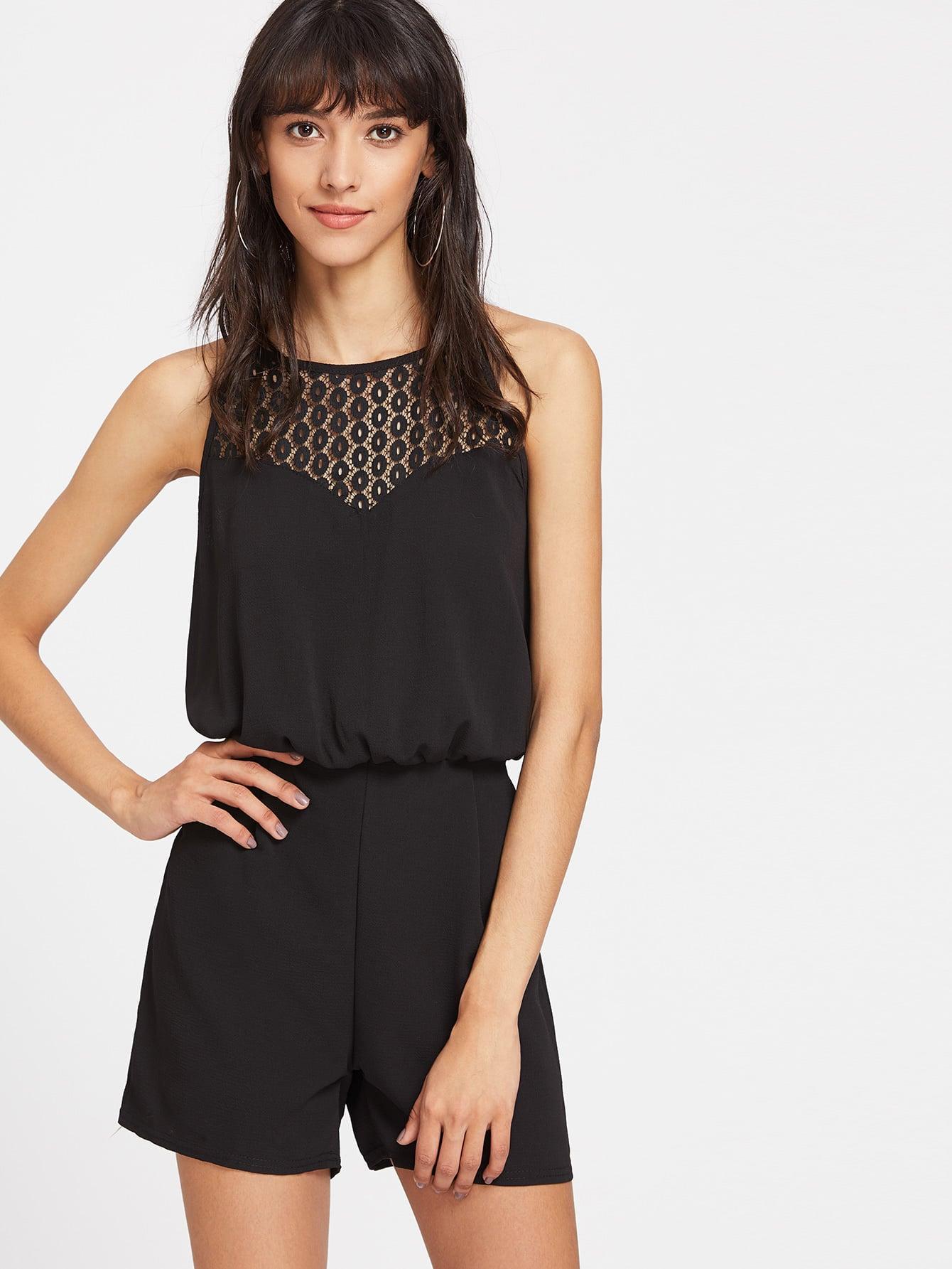 Contrast Lace Keyhole Back Slip Romper jumpsuit170407101