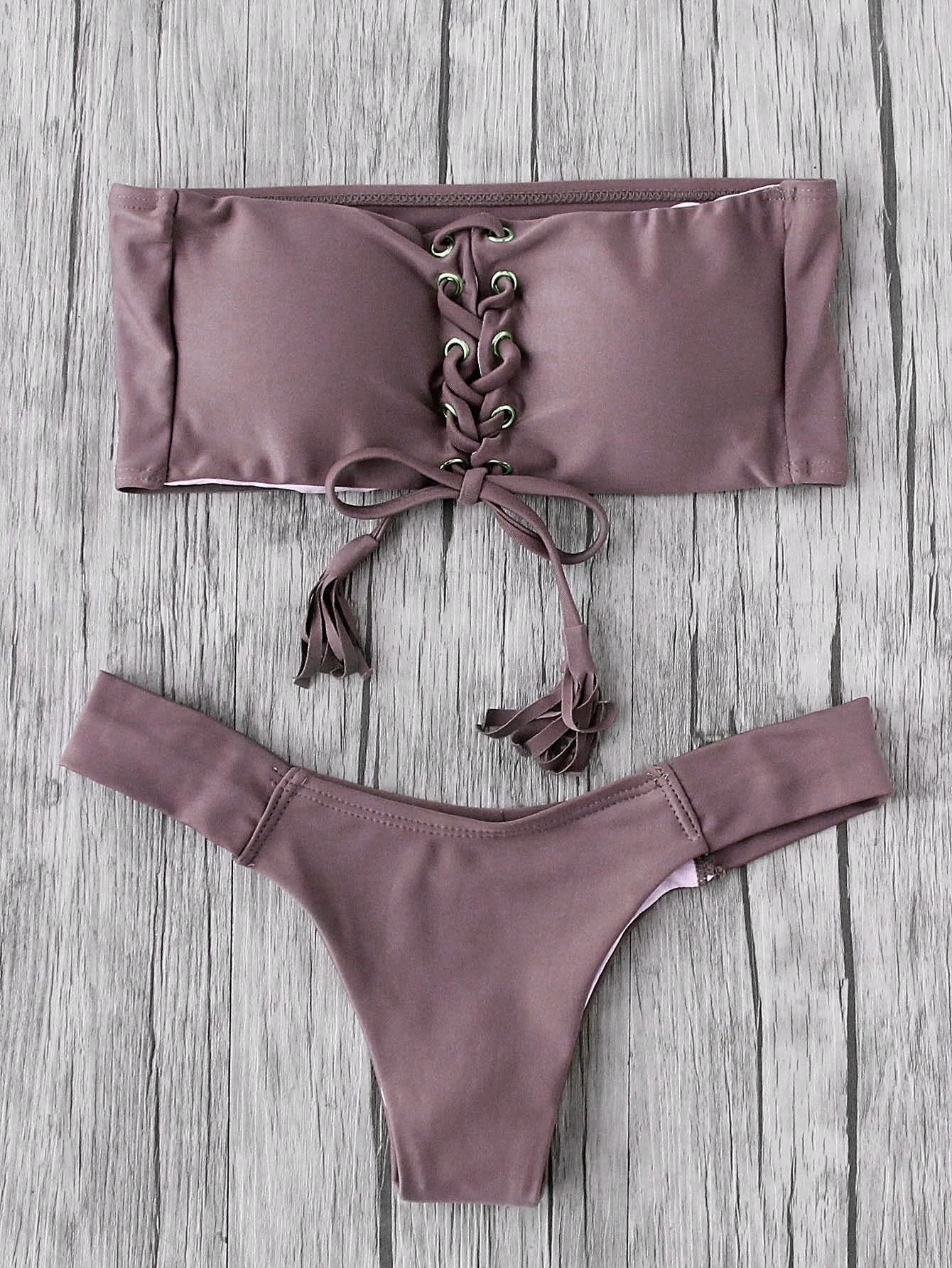 Eyelet Lace Up Tassel Bandeau Bikini Set camo lace up studded bikini set