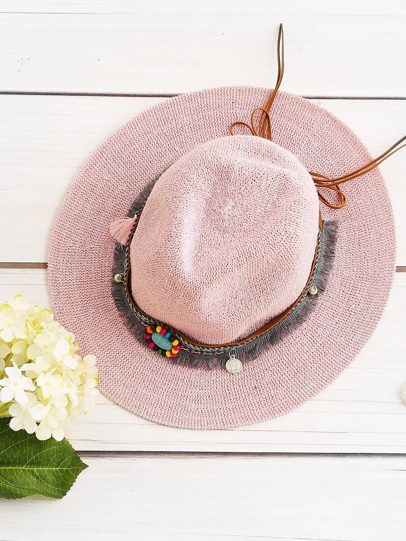 Фото Boho Fringe Straw Hat With Woven Band. Купить с доставкой