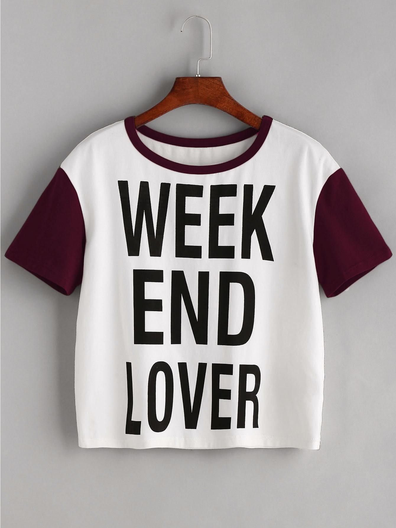 Фото Slogan Print Contrast Short Sleeve T-shirt. Купить с доставкой
